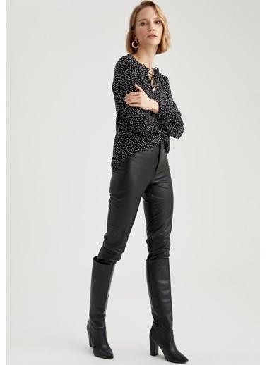 DeFacto Desenli Uzun Kollu Bluz Siyah